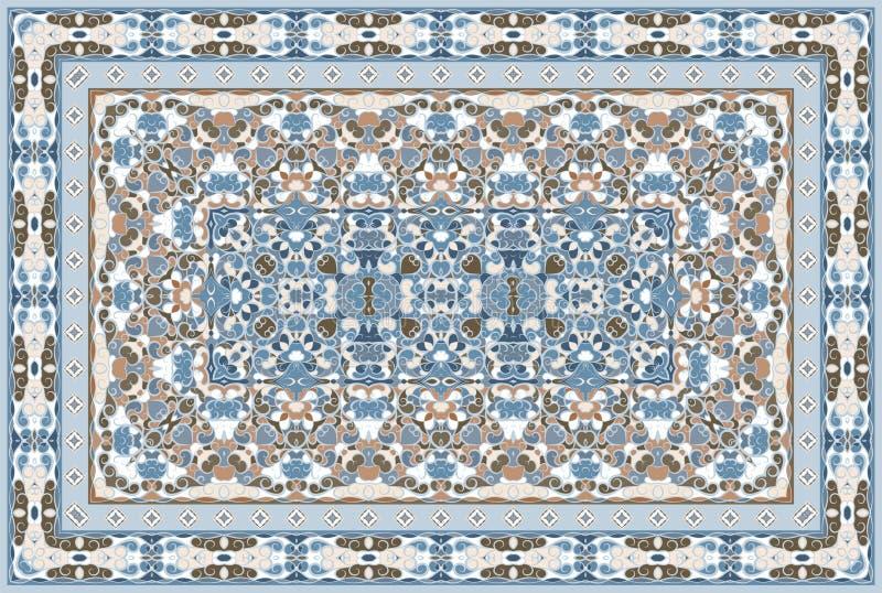 Persian colored carpet. Vintage Arabic pattern. Persian colored carpet. Rich ornament for fabric design, handmade, interior decoration, textiles. Blue background royalty free illustration