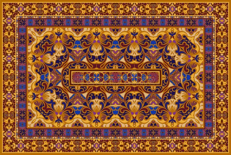 Persian colored carpet. Vintage Arabic pattern. Persian colored carpet. Rich ornament for fabric design, handmade, interior decoration, textiles. Bright ethnic royalty free illustration