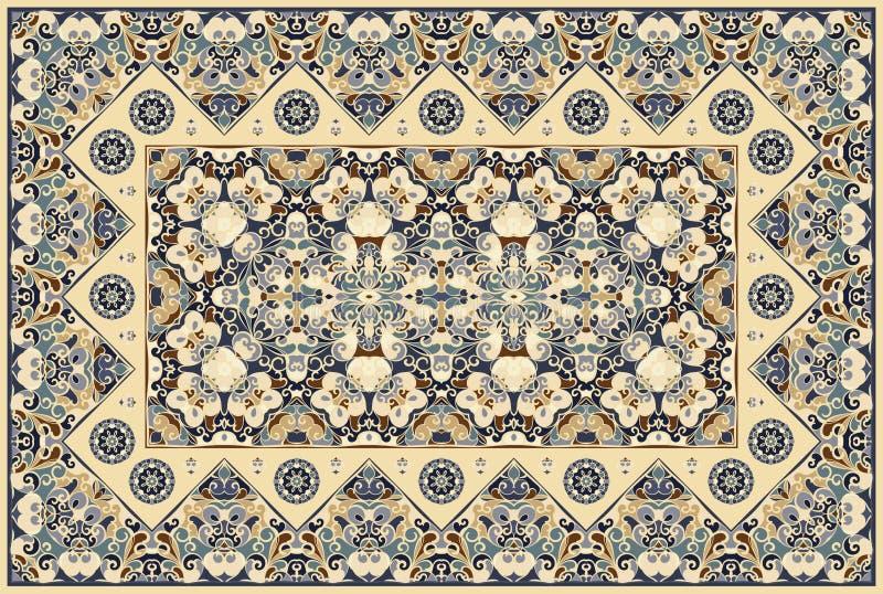 Persian colored carpet. Vintage Arabic pattern. Persian colored carpet. Rich ornament for fabric design, handmade, interior decoration, textiles. Brown royalty free illustration