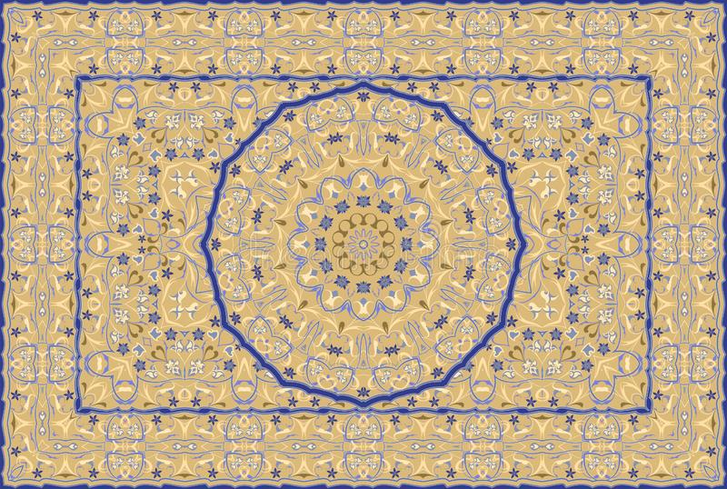 Persian colored carpet. Vintage Arabic pattern. Persian colored carpet. Rich ornament for fabric design, handmade, interior decoration, textiles stock illustration