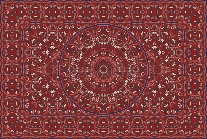 Persian colored carpet. Vintage Arabic pattern. Persian colored carpet. Rich ornament for fabric design, handmade, interior decoration, textiles. Red background stock illustration