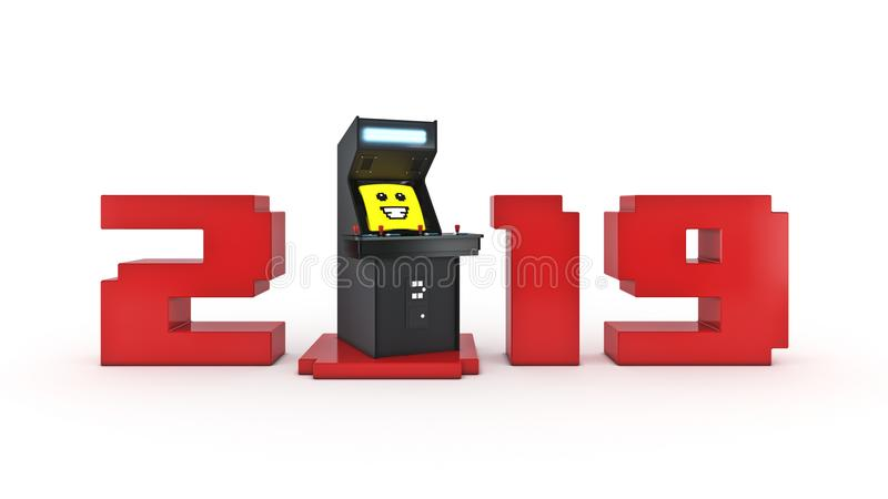 Vintage arcade game machine concept 2019 New Year. 3D rendering stock illustration