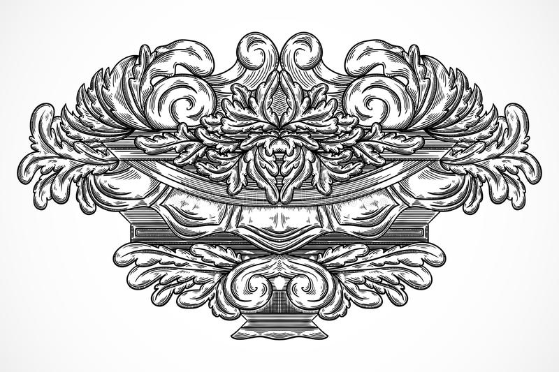 Vintage architectural details design elements. Antique baroque classic style cartouche in engraving style. Hand drawn vector illustration royalty free illustration