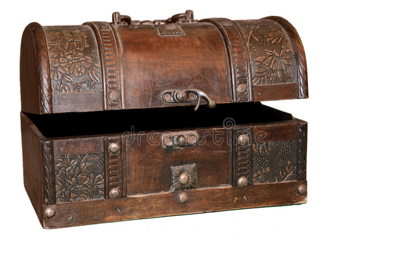 Vintage Ark. Open vintage textured chest isolated on white stock images