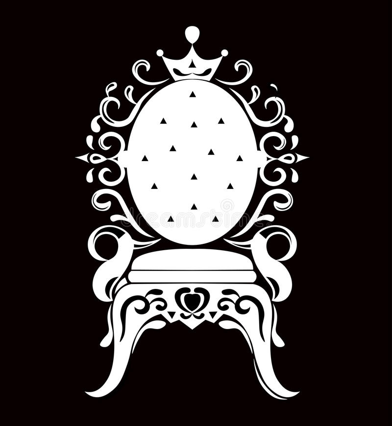 Vintage armchair black silhouette. French Luxury rich carved ornaments decorated furniture. Vector Victorian Royal Style. Structures royalty free illustration
