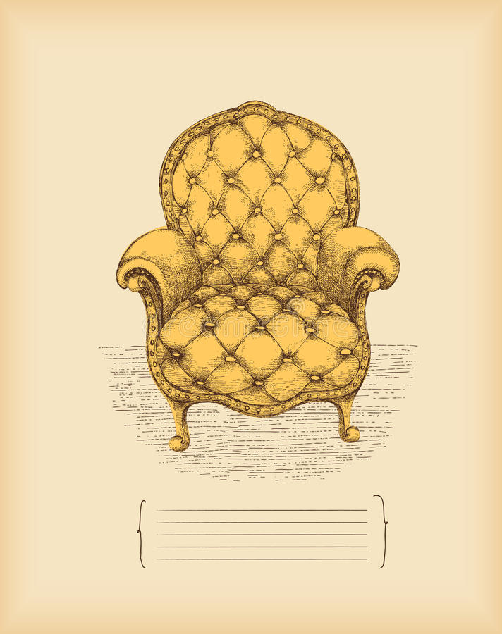 Download Vintage armchair -drawing stock vector. Illustration of object - 13968911