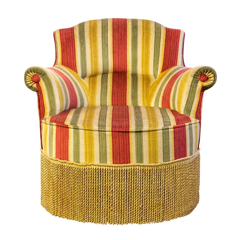Vintage armchair with fringe of fifties design style with isolated on white b. Ackground royalty free stock photo