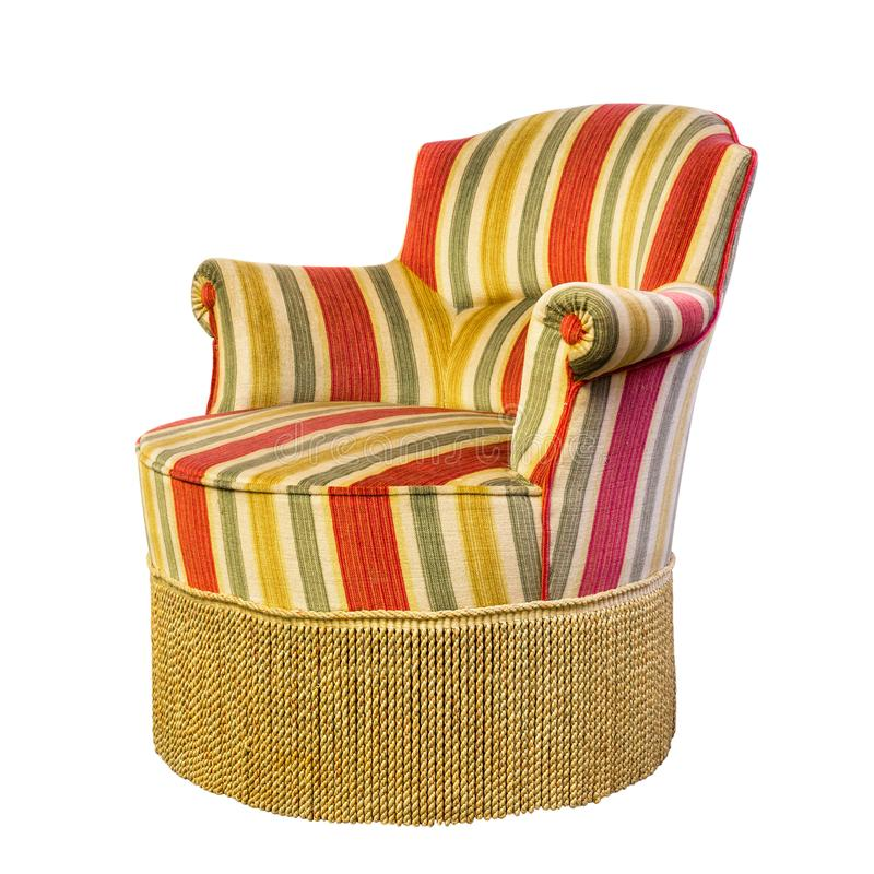 Vintage armchair with fringe of fifties design style with isolated on white b. Ackground stock image
