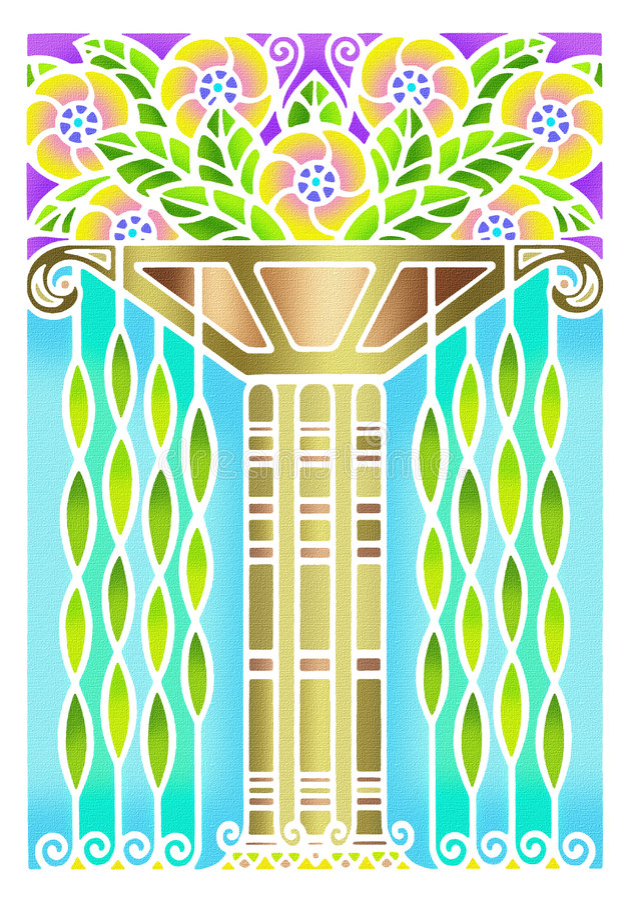 Vintage art deco floral design royalty free stock photo