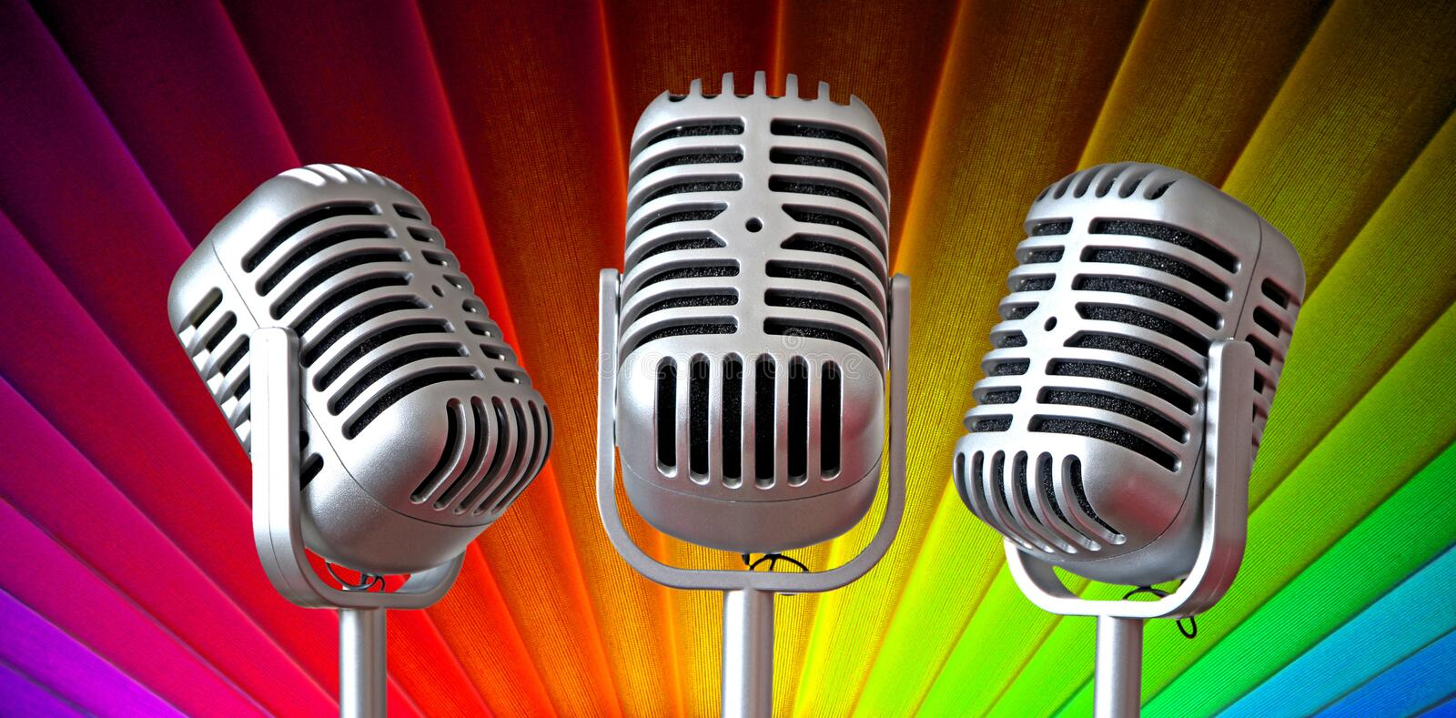 Vintage art deco mic trio royalty free stock images