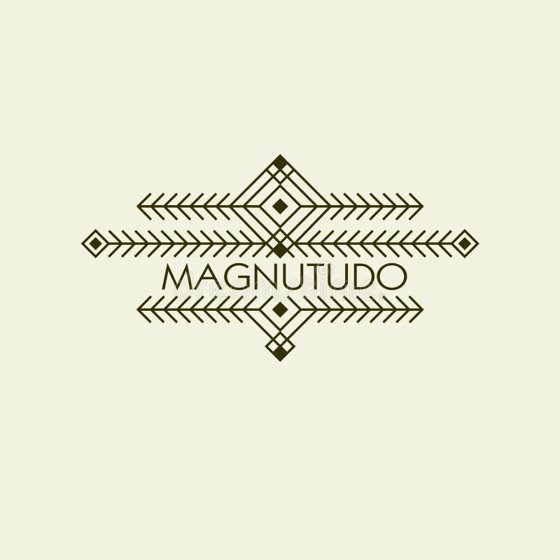 Vintage Art Deco Monochrome Flourishes Monogram étnico de lujo Emblema ornamental Logotipo de la plantilla Estilo del inconformis ilustración del vector