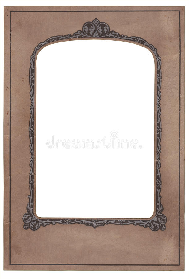 Vintage art deco photo cardboard. Vintage stained old art deco studio photo frame, clipping path royalty free stock photo