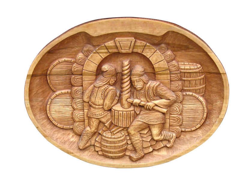 Download Vintage Art Wooden Relief Isolated Over White Stock Illustration - Illustration: 11386961