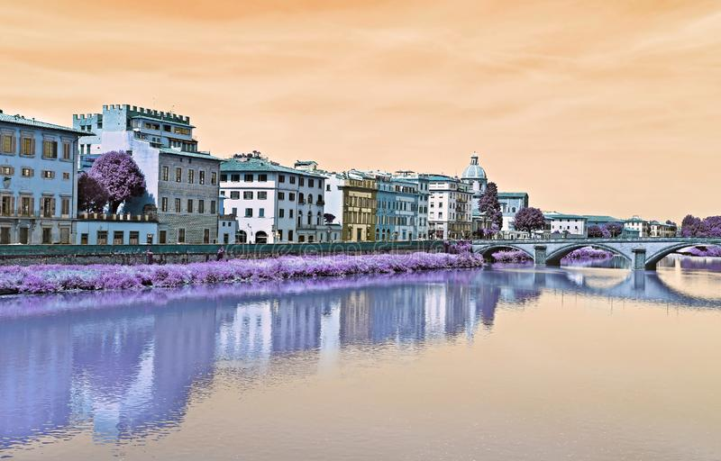 Vintage artistic scenery of Arno river Firenze Italy royalty free stock image