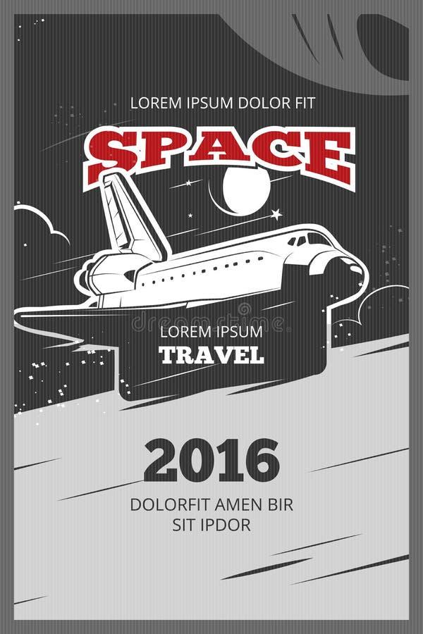 Vintage astronautics vector poster vector illustration