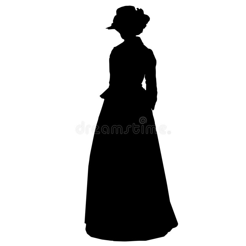 Vintage attractive female silhouette in victorian style stock illustration