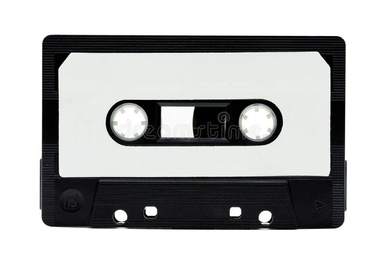Vintage audio Black cover Classic cassette tape and copy space with isolate on white background stock image