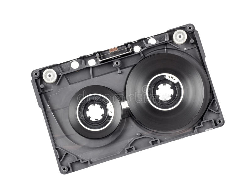 Vintage audio cassette. With cover removed, showing tape reels inside stock image
