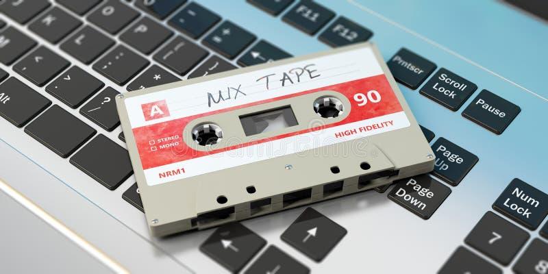 Vintage audio cassette, text mix tape on the label, on a laptop. 3d illustration vector illustration