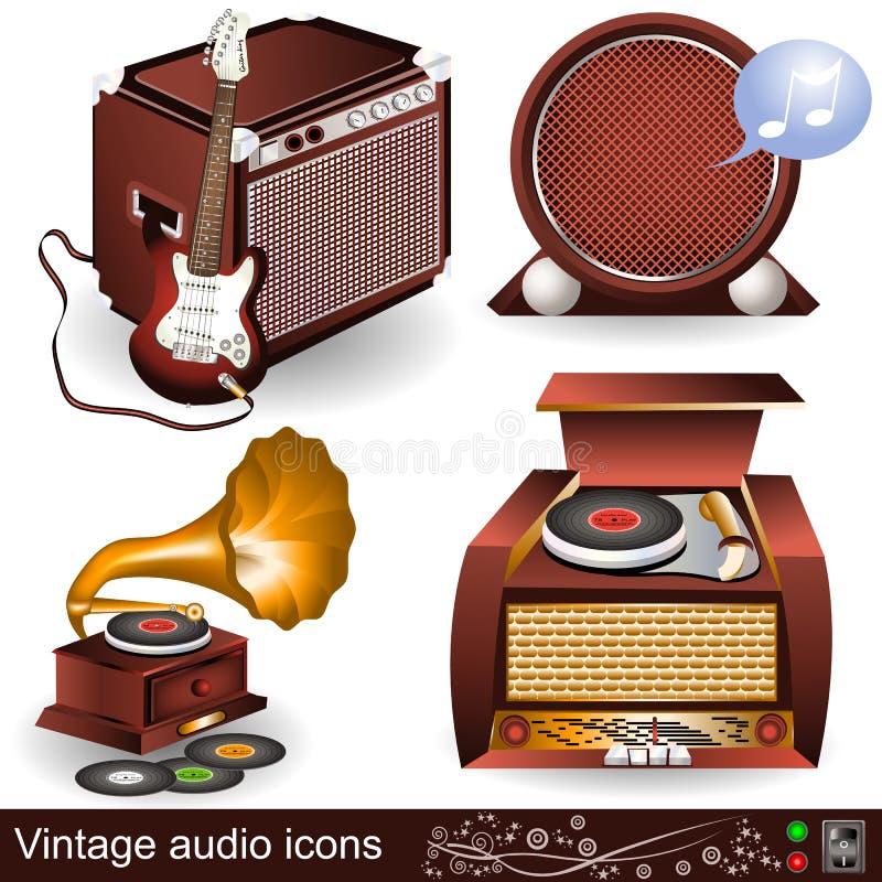 Vintage audio icons 1. Illustration of vintage audio icons, part 1 stock illustration