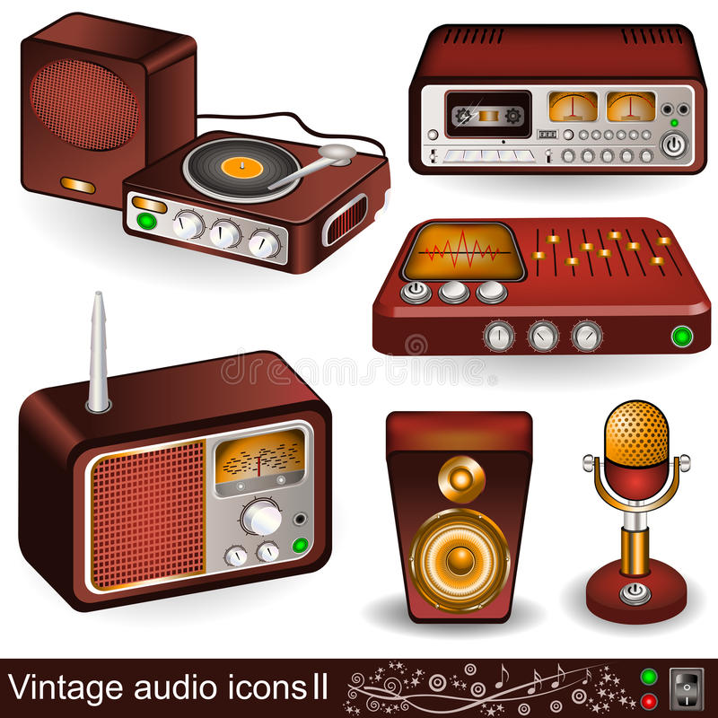 Download Vintage audio icons 2 stock vector. Image of icon, golden - 26112952