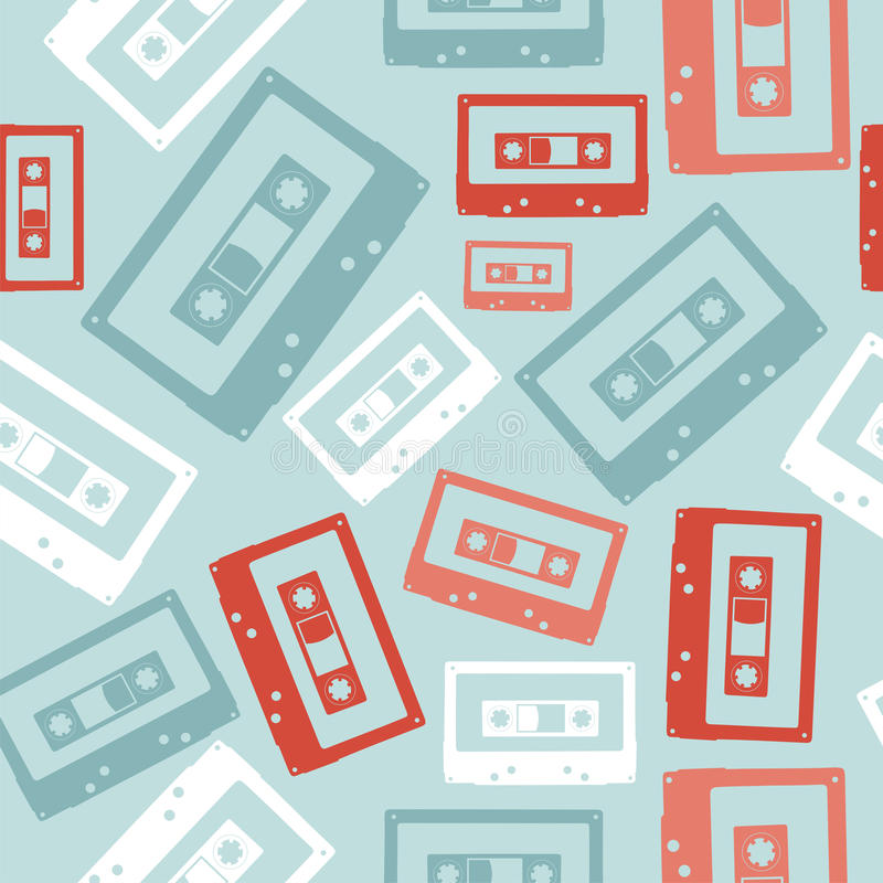 Download Vintage Audio Tapes Pattern Stock Vector - Illustration of fashioned, funky: 25894597