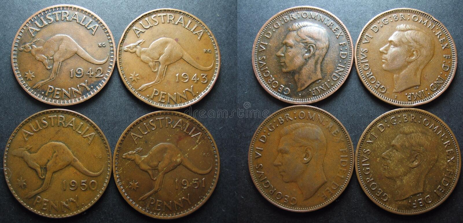 Vintage Australian One Penny Coin. Four pre-decimal vintage Australian One Penny coins. Showing both reverse and obverse sides royalty free stock image