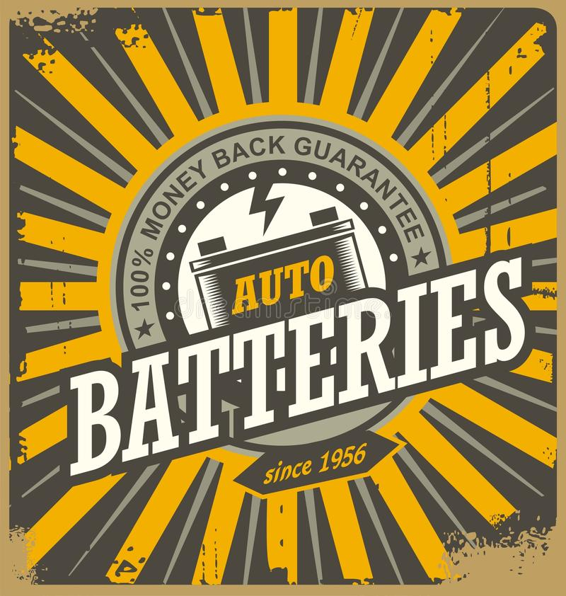 Vintage Auto Batteries Tin Sign Design Stock Vector - Illustration ...