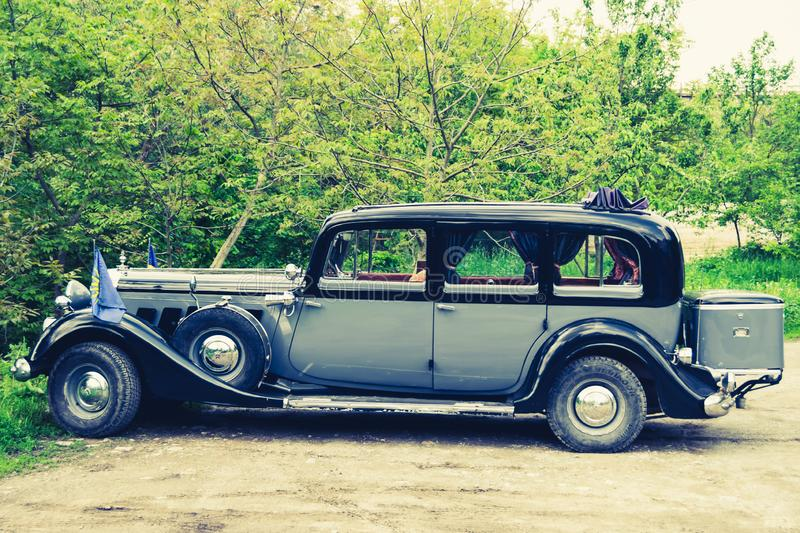 Vintage car. Vintage Auto Union/Horch Pullman 951 Limosine 1937. The retro car is still on the move and is used for sightseeing trips by tourists in the city of royalty free stock photo