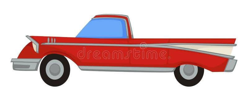 Vintage automobile, 50s retro muscle car, 1950s transport royalty free illustration