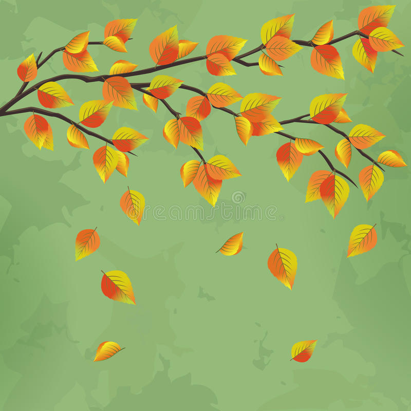 Vintage autumn background with tree branch vector illustration