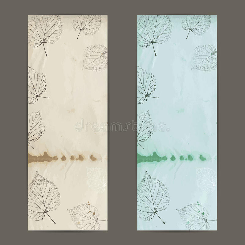 Vintage autumn banner with linden leaves on old paper. vector illustration