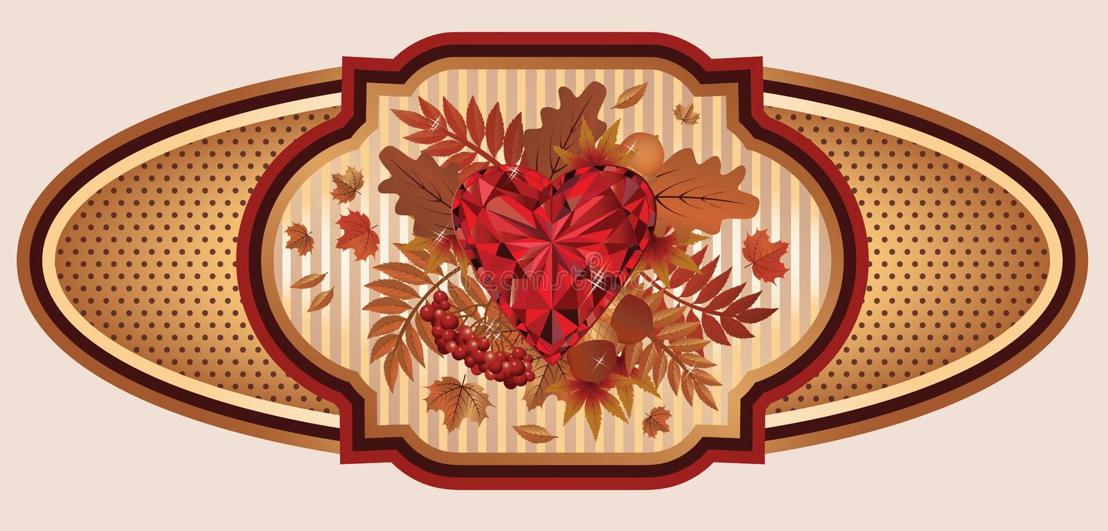 Vintage autumn banner with ruby heart, vector vector illustration