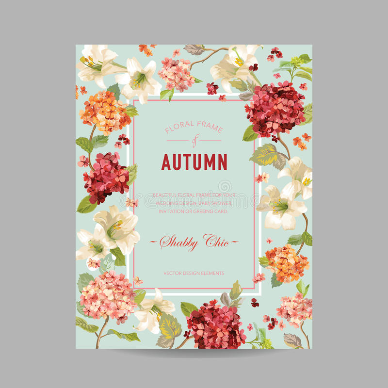 Vintage Autumn and Summer Floral Frame. Watercolor Hortensia Flowers for Invitation, Wedding, Baby Shower Card royalty free illustration
