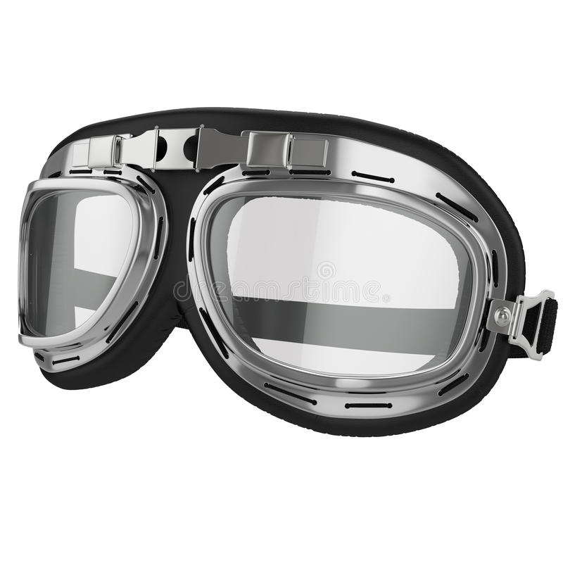 Old Leather Race Goggles Pilot White Background