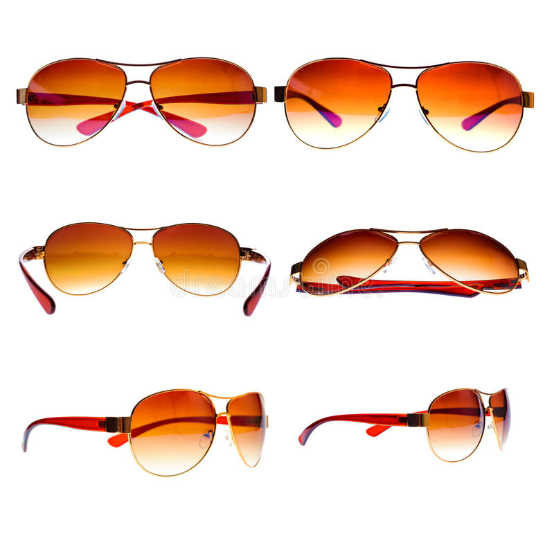 Vintage aviator sunglasses isolated on white royalty free stock photography