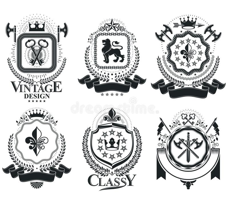 Vintage award designs, vintage heraldic Coat of Arms. Vector emblems. Vintage design elements collection. royalty free illustration