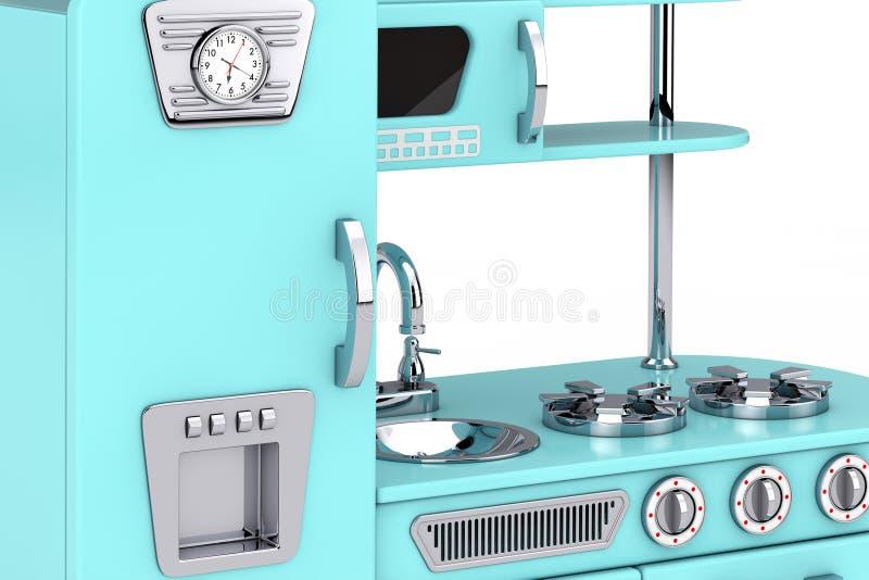 Vintage azul Toy Kitchen Extreme Closeup representación 3d stock de ilustración