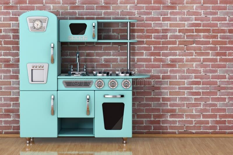Vintage azul Toy Kitchen representación 3d ilustración del vector