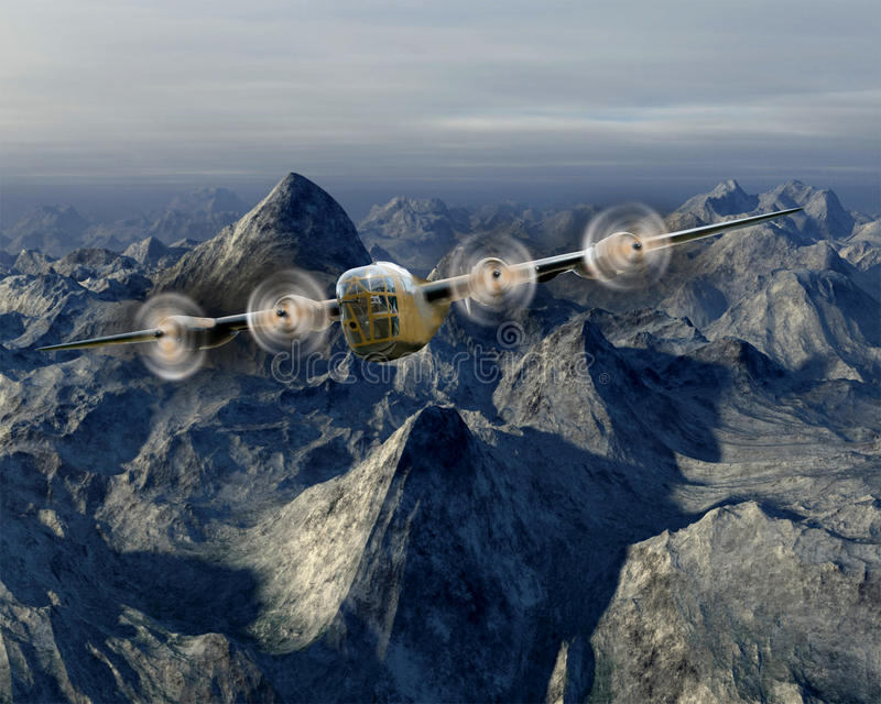 Vintage B-17 WWII War Bomber. Vintage WWII airplane bomber, a B-17. The aircraft is flying over the hump, a mountain range. The plane saw lots of action during stock photos