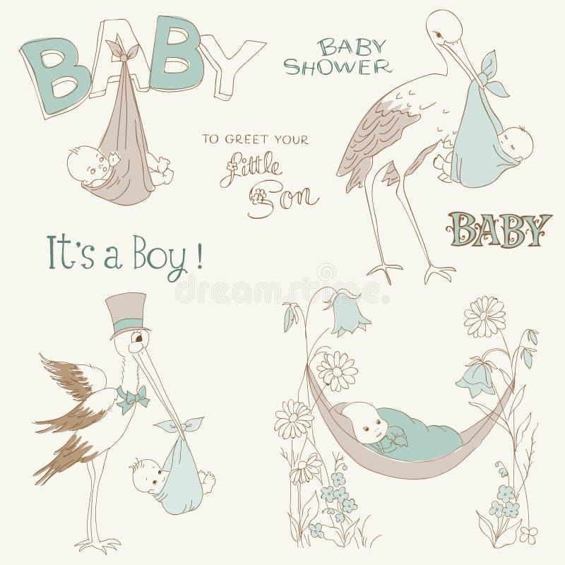 Vintage Baby Boy Shower and Arrival Doodles Set stock illustration