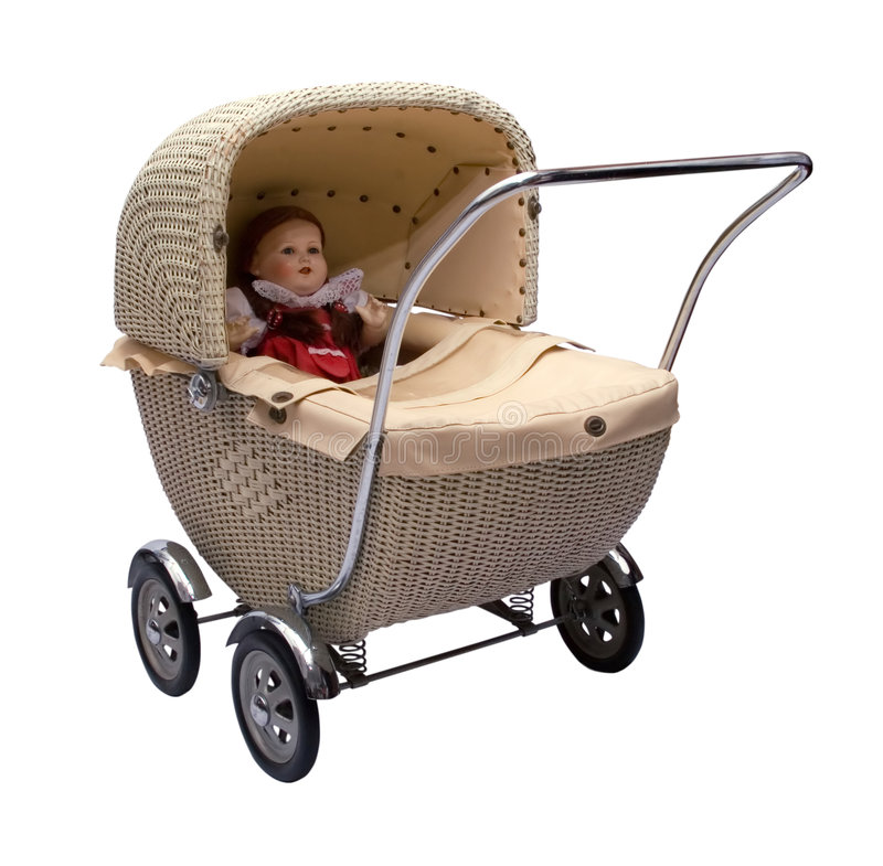 Vintage baby carriage royalty free stock photo