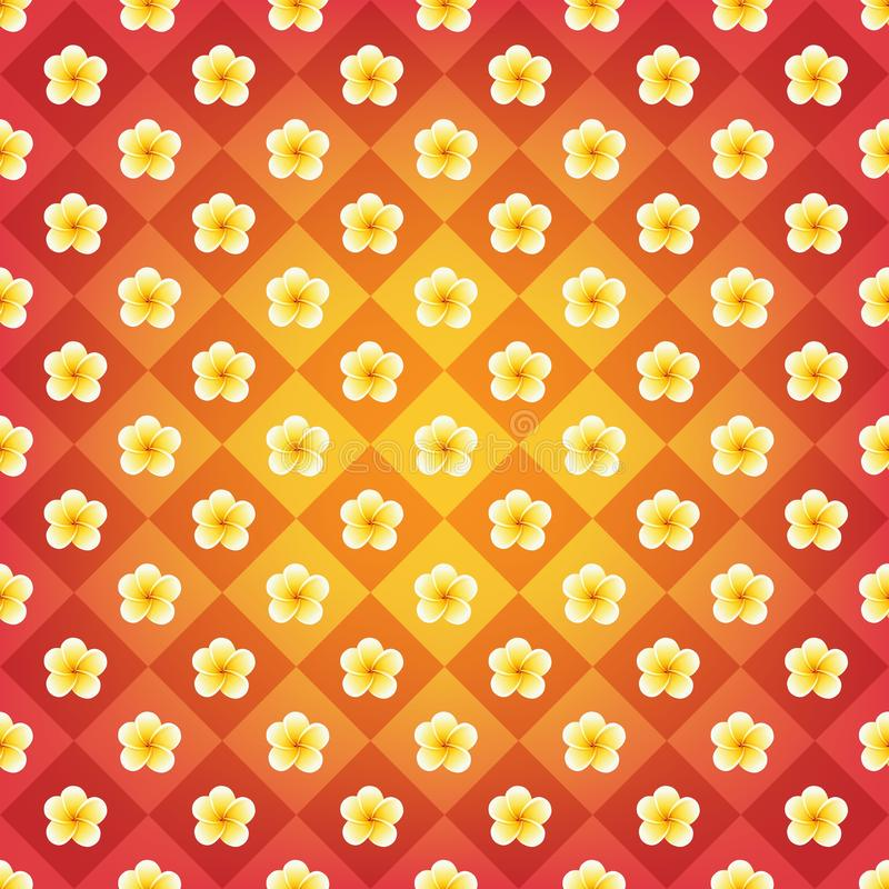 Vintage backdrop in orange, red and yellow colors. Vector plumeria flowers royalty free illustration