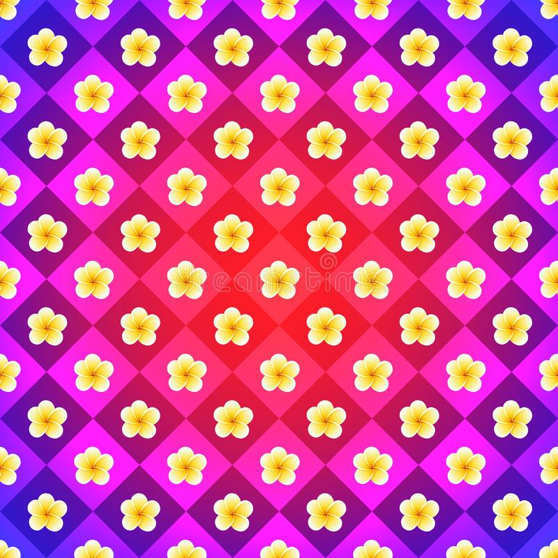 Vintage backdrop in pink, violet and yellow colors. Vector plumeria flowers stock illustration