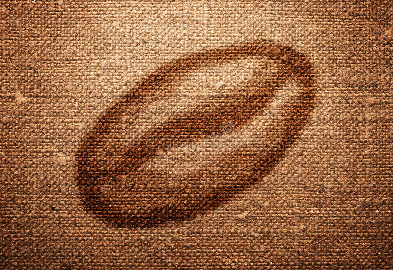 Vintage Background. Old canvas texture with coffee bean for background royalty free stock photos