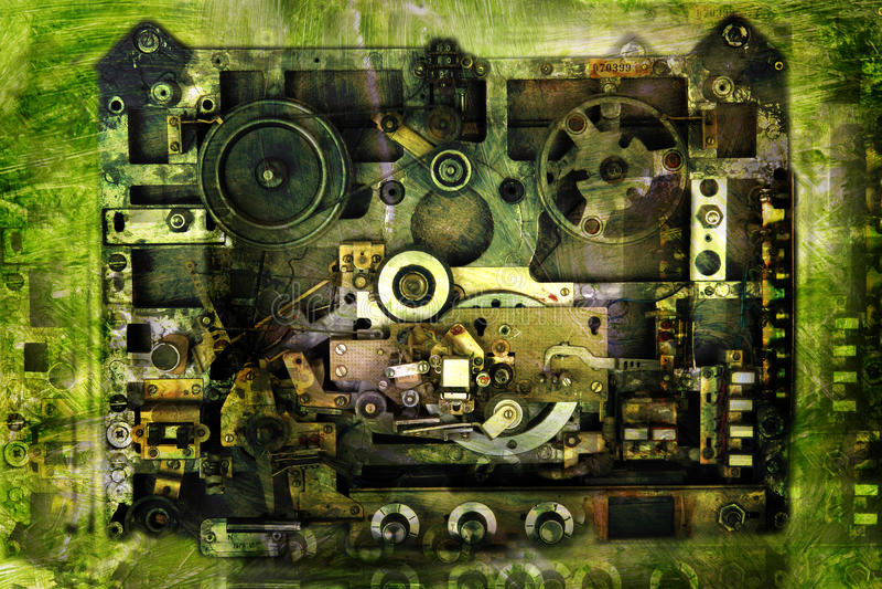Vintage background-analog recorder stock image