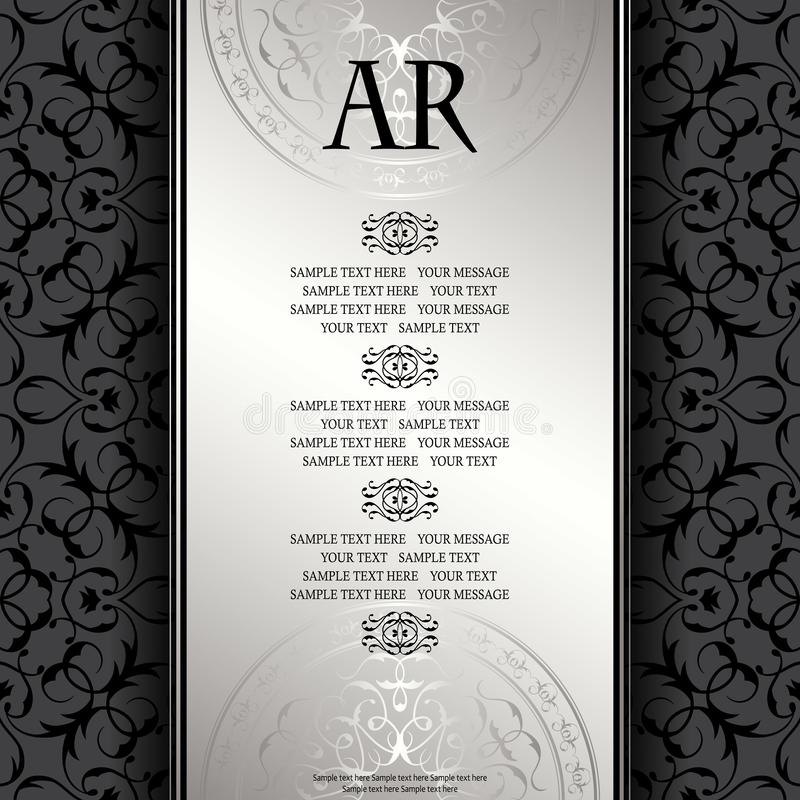 Vintage background with antique luxury silver frame. Invitation card, template for your design royalty free illustration