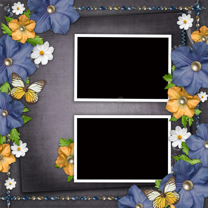 Vintage background with blue and yellow flowers vector illustration