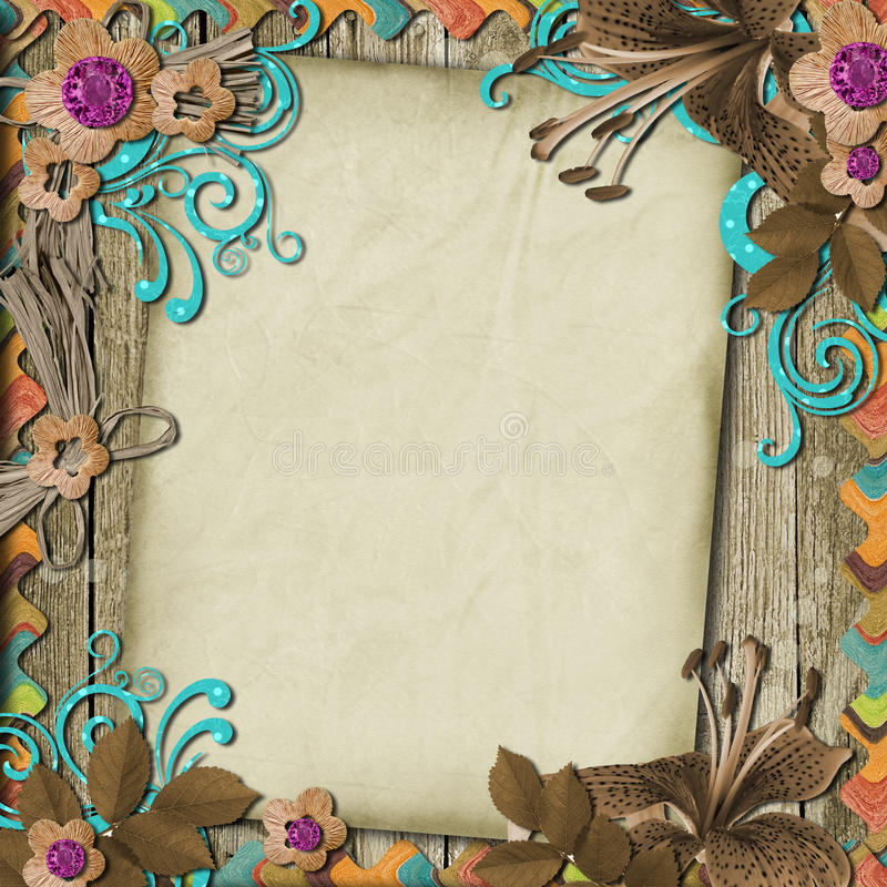 Download Vintage Background With Card And Flowers Stock Illustration - Image: 21597232