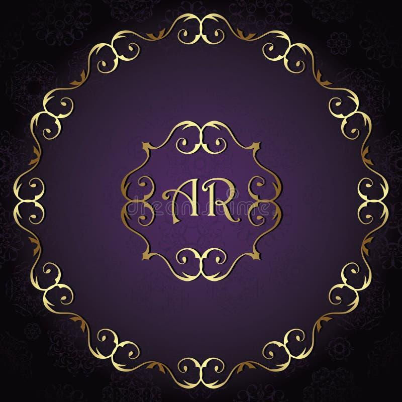 Vintage background, card, invitation with vintage round frame. Wedding design. Gold luxury frame and violet background royalty free illustration